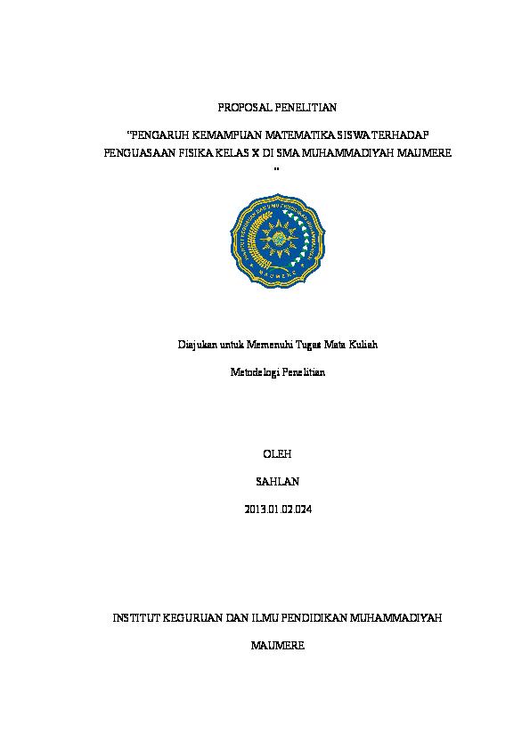 Doc Proposal Penelitian Korelasional Syahlan Fairus Academia Edu
