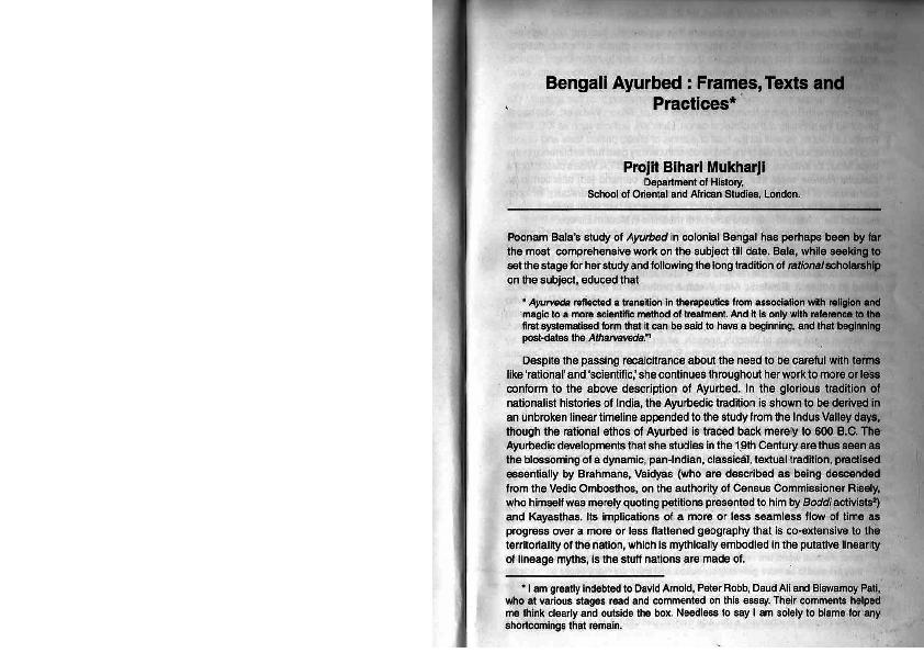 PDF) Bengali Ayurbed: Frames, Texts and Practices | Projit Bihari