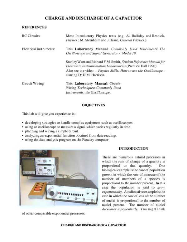 PDF) CHARGE AND DISCHARGE OF A CAPACITOR CHARGE AND DISCHARGE OF A