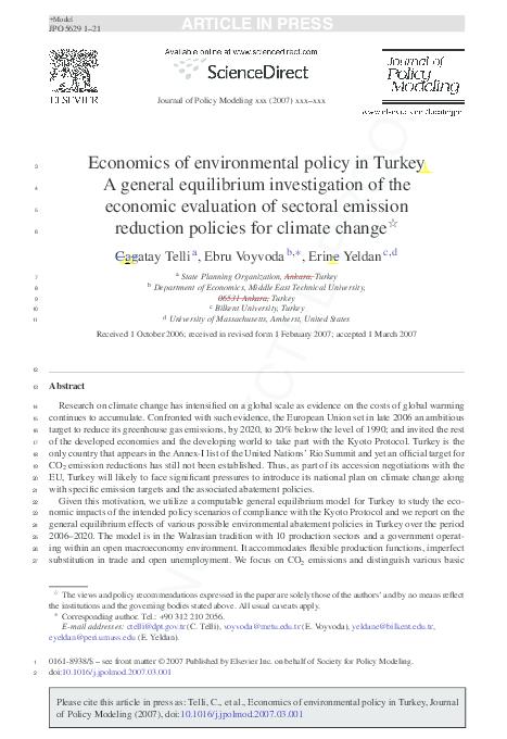 PDF) Economics of environmental policy in Turkey | Erinc