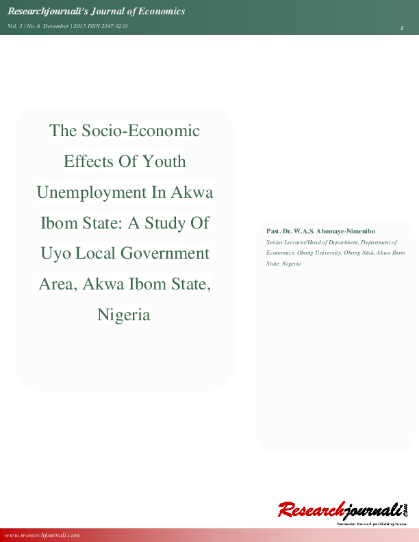PDF) THE SOCIO-ECONOMIC EFFECTS OF YOUTH UNEMPLOYMENT IN