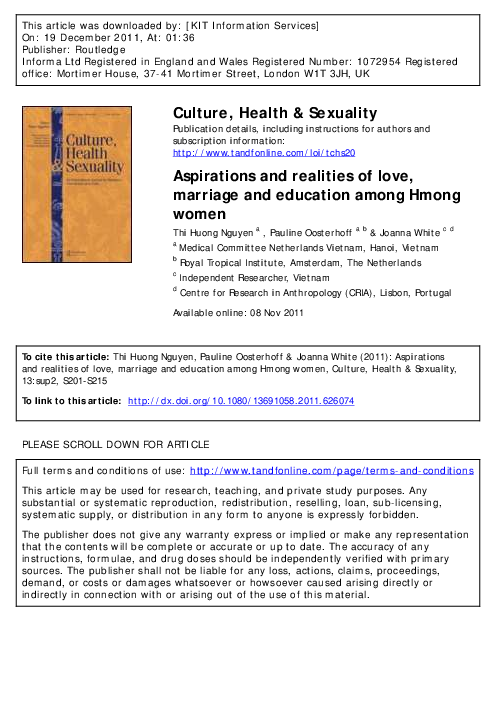 PDF) Culture, Health & Sexuality Aspirations and realities