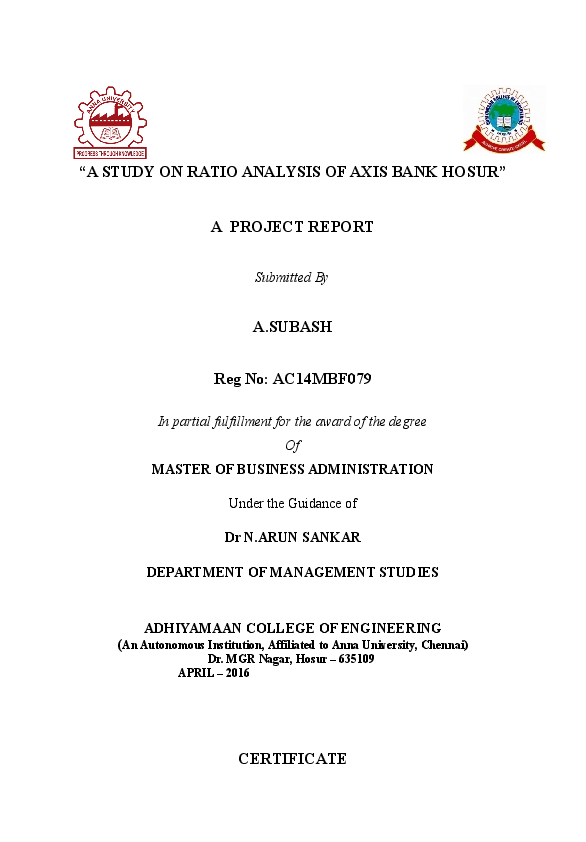 Doc A Study On Ratio Analysis Of Axis Bank Hosur A Project Report Chennakeshava Pm Academia Edu