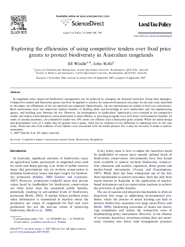 PDF) Exploring the efficiencies of using competitive tenders