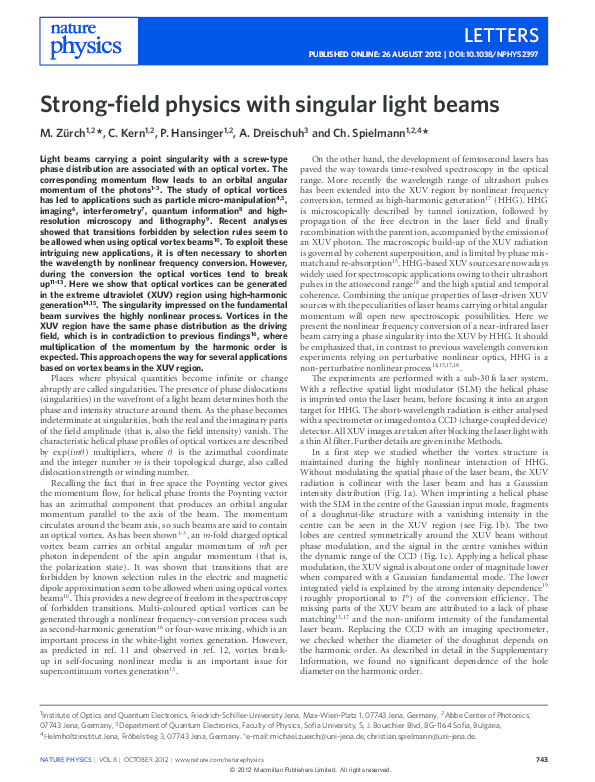 Strong-field physics with singular light beams | Christian