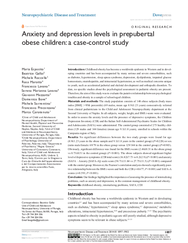 Study Depression Obesity Hypertension >> Pdf Anxiety And Depression Levels In Prepubertal Obese Children A