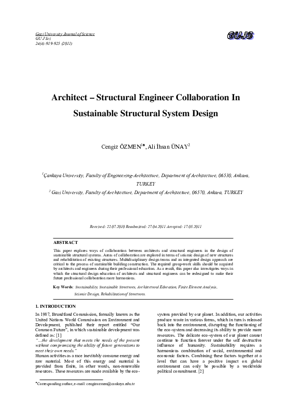 PDF) Architect – Structural Engineer Collaboration In