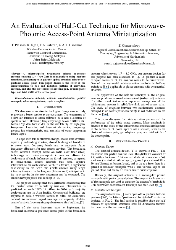 PDF) An evaluation of half-cut technique for microwave