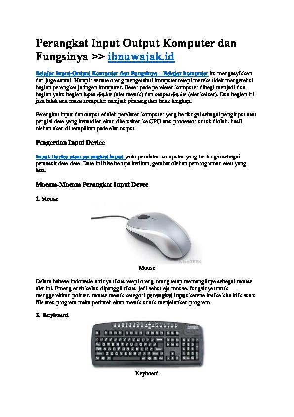 Perangkat Input Output Komputer Dan Fungsinya Ibnuwajakid Ibnu