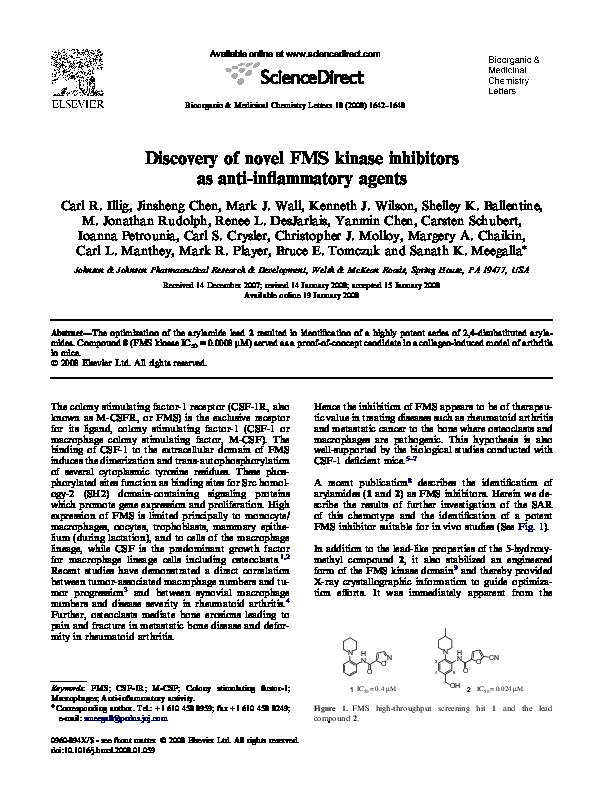 Pdf Discovery Of Novel Fms Kinase Inhibitors As Anti