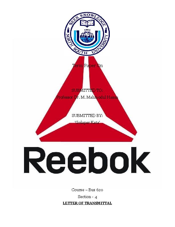 7d8e89528ea6 DOC) Marketing Management Report on Reebok