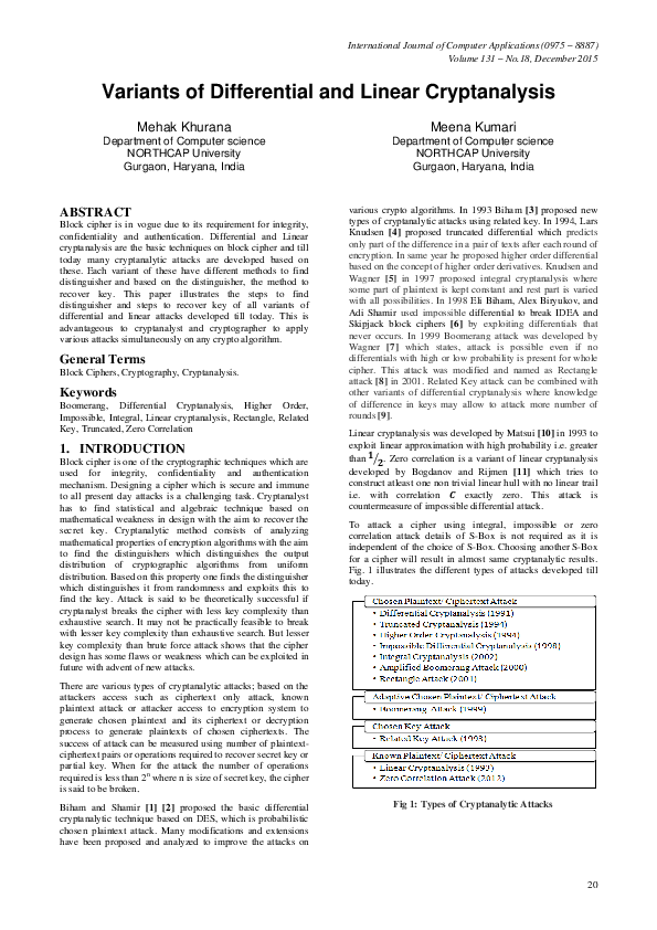 PDF) Variants of Differential and Linear Cryptanalysis