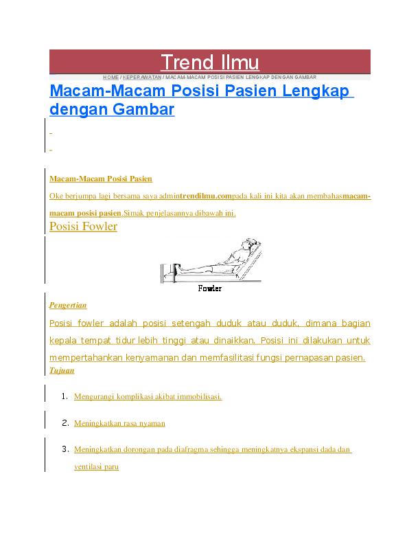 Doc Macam Macam Posisi Pasien Lengkap Dengan Gambar Bahar Uddin Academia Edu