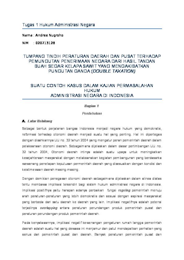 Doc Tugas 1 Hukum Administrasi Negara Andree Saragih Academia Edu