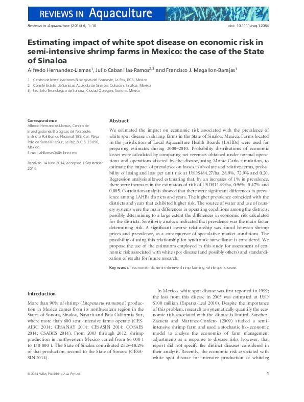 PDF) Estimating impact of white spot disease on economic