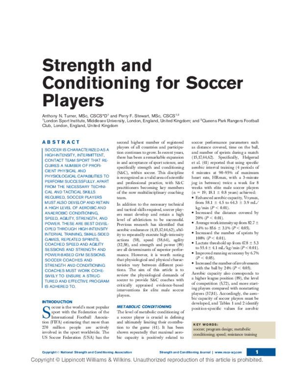 PDF) Strength and Conditioning for Soccer Players | Marcin