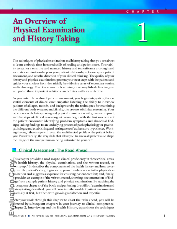 PDF) An Overview of Physical Examination and History Taking An