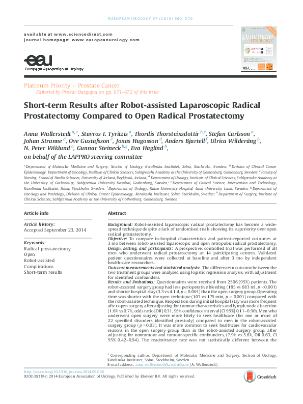 PDF) Short-term Results after Robot-assisted Laparoscopic