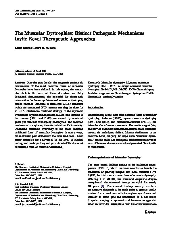 PDF) The Muscular Dystrophies: Distinct Pathogenic