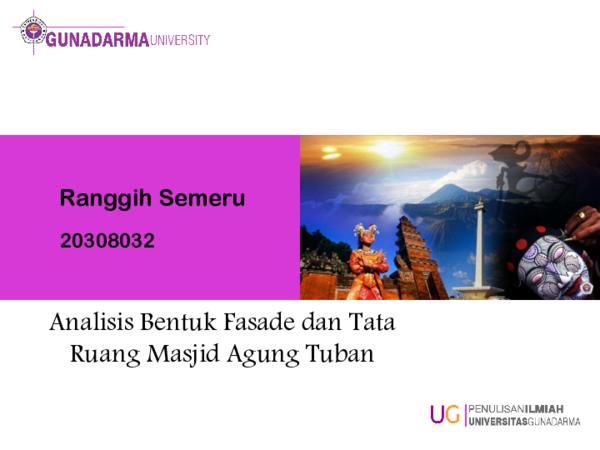 Pdf Ranggih Semeru Analisis Bentuk Fasade Dan Tata Ruang Masjid