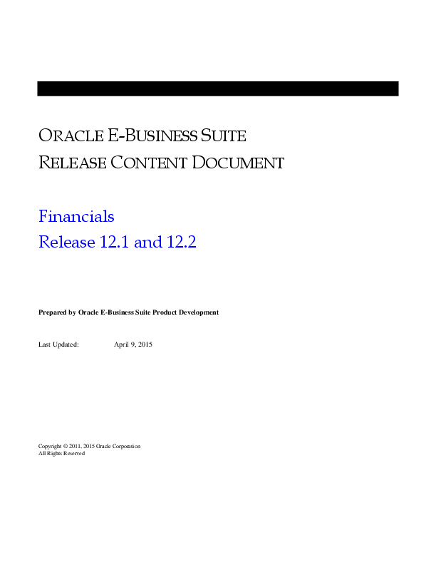 PDF) ORACLE E-BUSINESS SUITE RELEASE CONTENT DOCUMENT Financials