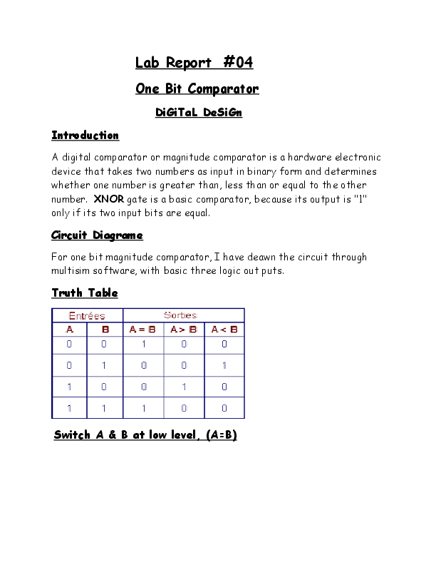 DOC) 2-bit & 4-bit Comparator | awais ahmad - Academia edu
