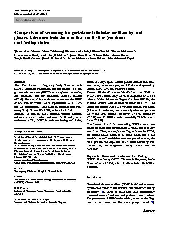 PDF) Comparison of screening for gestational diabetes
