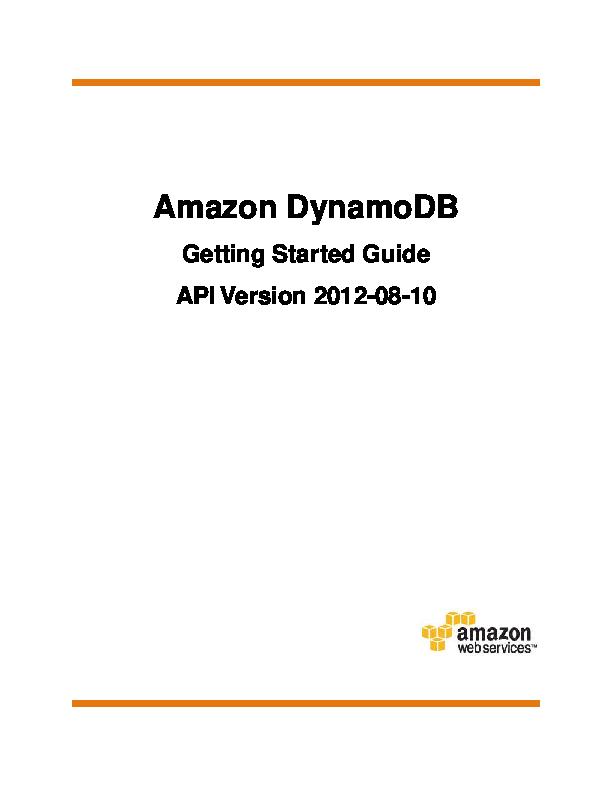 PDF) Amazon DynamoDB Getting Started Guide | Shreya Dubey - Academia edu