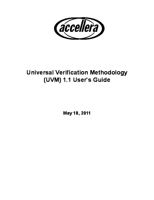 PDF) Universal Verification Methodology (UVM) 1 1 User's