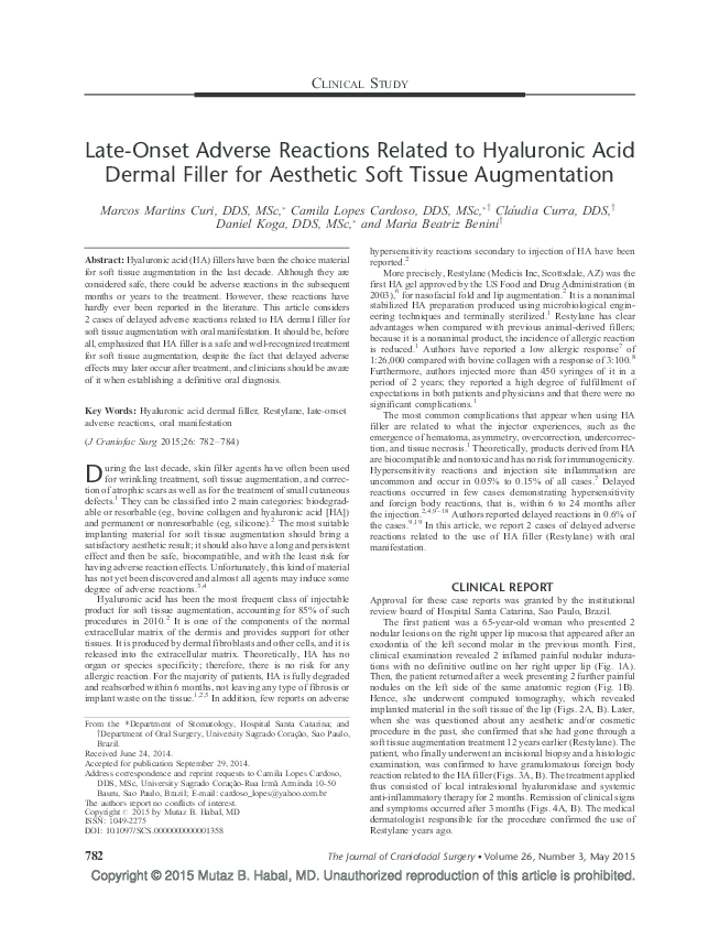 PDF) Delayed Adverse Effects Related to Hyaluronic Acid