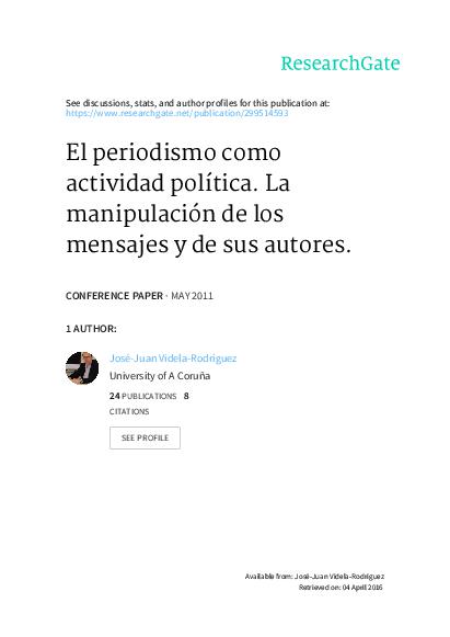 Pdf El Periodismo Como Actividad Política La Manipulación