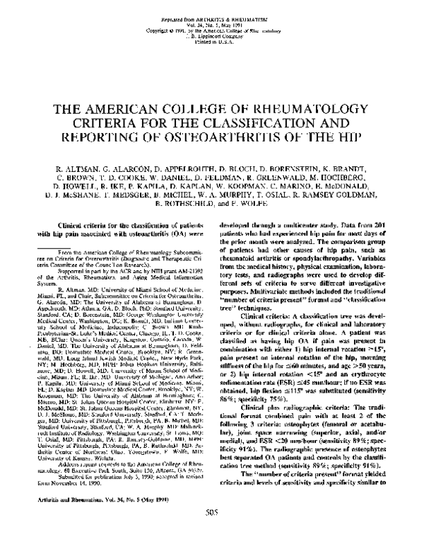 PDF) The American College of Rheumatology criteria for the