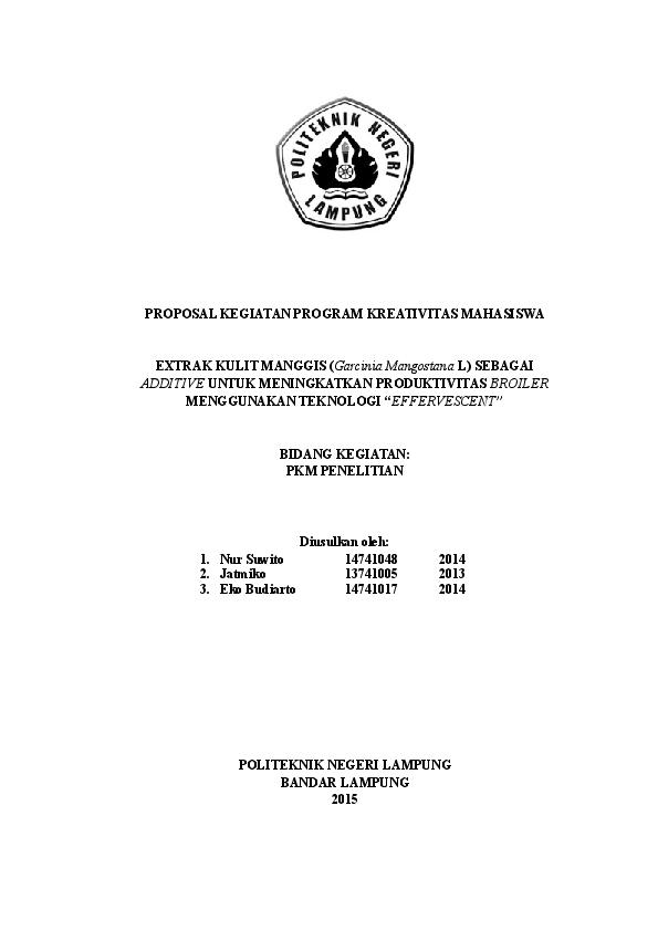 Contoh Proposal Pkm P Nur Suwito Academia Edu