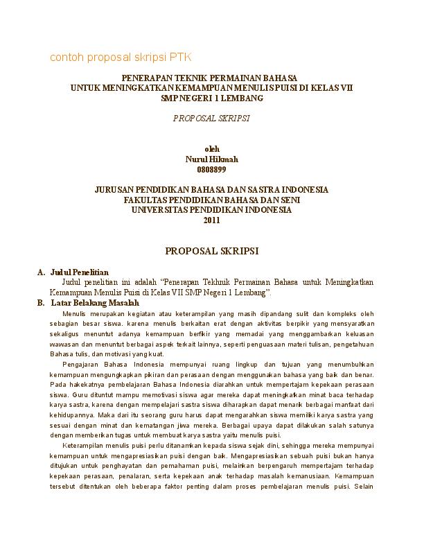 Contoh Proposal Skripsi Pendidikan Bahasa Dan Sastra Indonesia