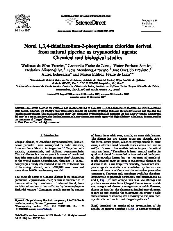 PDF) Novel 1,3,4-thiadiazolium-2-phenylamine chlorides derived from