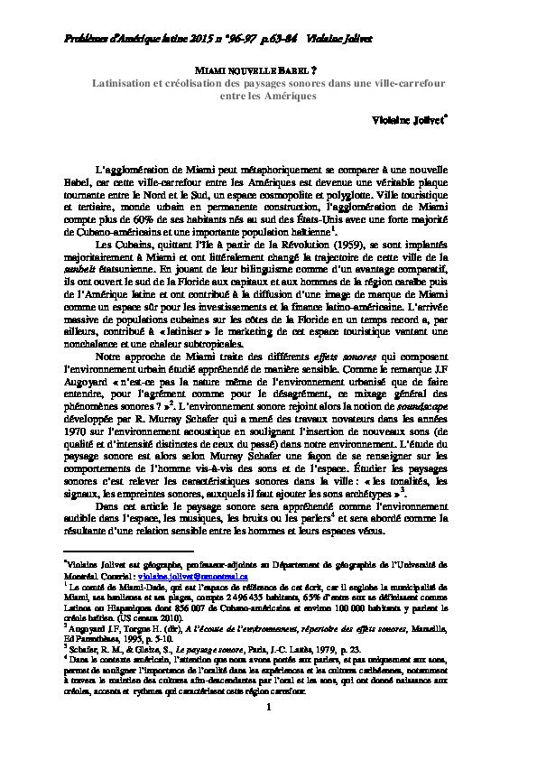 Pdf Miami Nouvelle Babel Latinisation Et Créolisation Des
