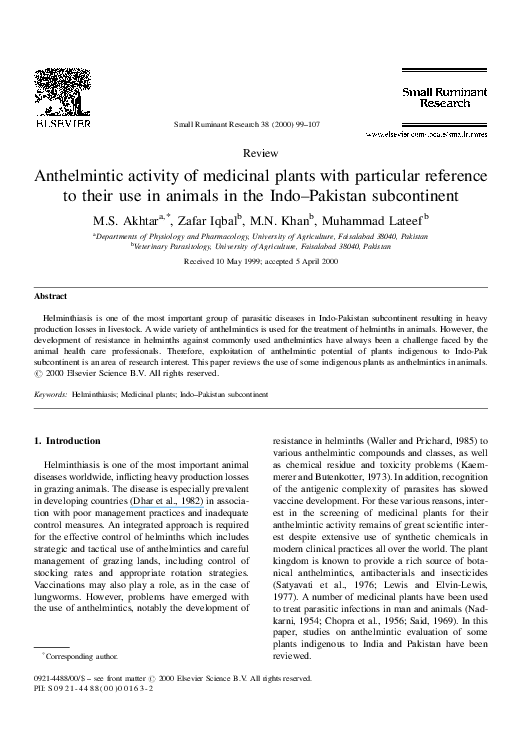 anthelmintic property