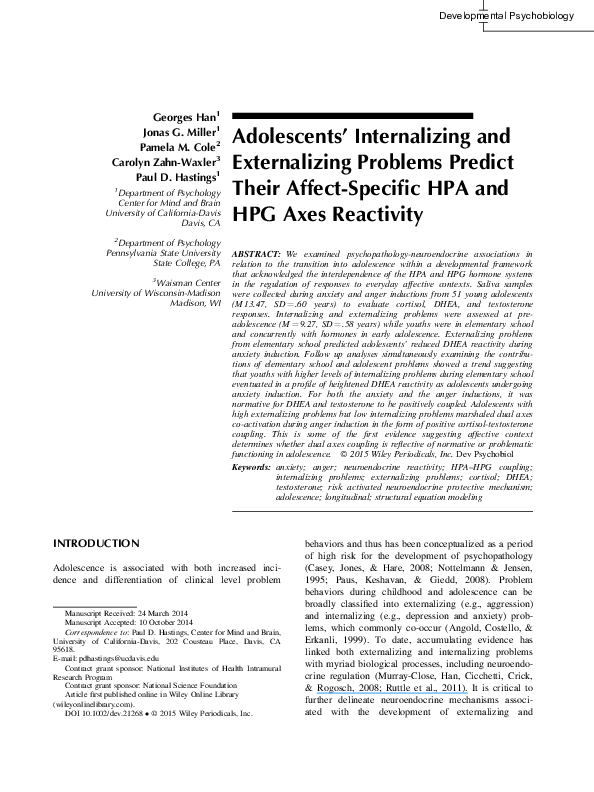 PDF) Adolescents' internalizing and externalizing problems predict