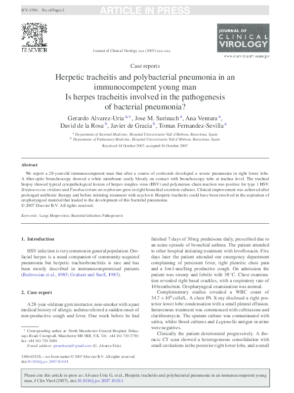 Pdf Herpetic Tracheitis And Polybacterial Pneumonia In An Immunocompetent Young Man G Alvarez Uria Academia Edu