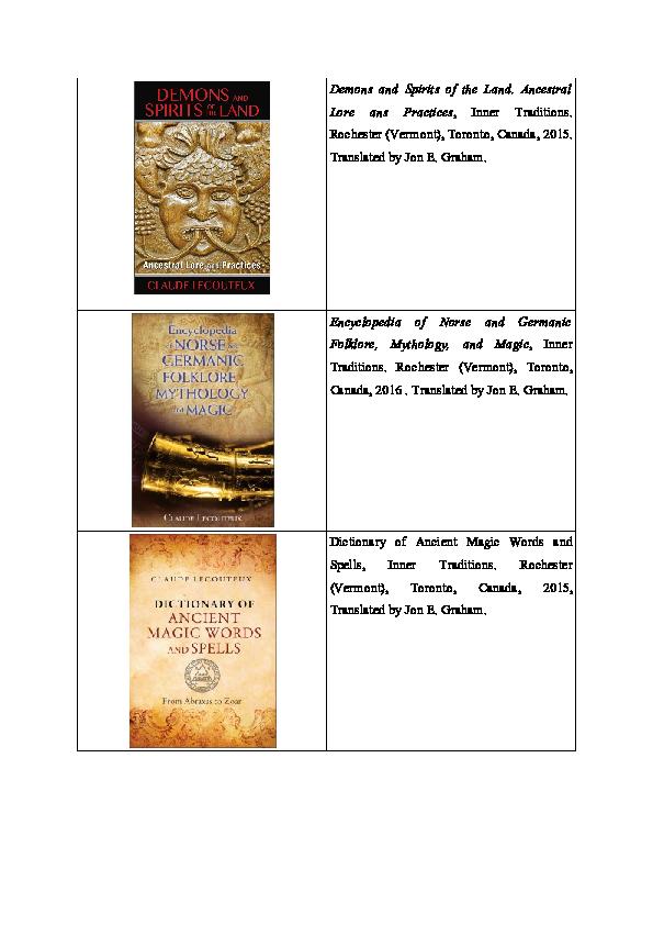 English translations of my books   claude lecouteux - Academia edu