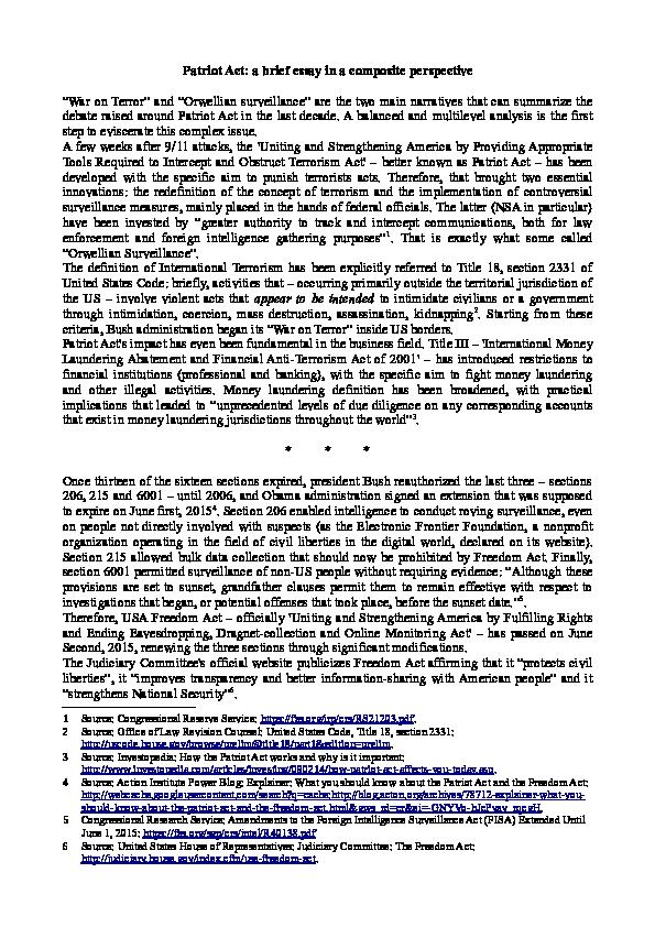 patriot act controversy essay