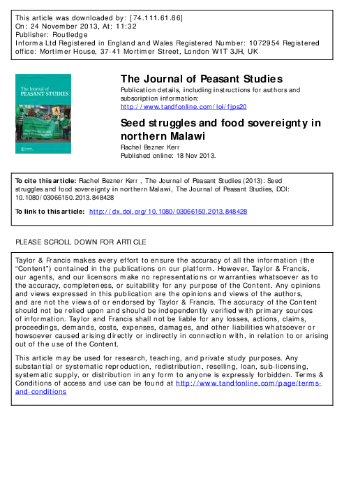 PDF) Seed struggles and food sovereignty in northern Malawi