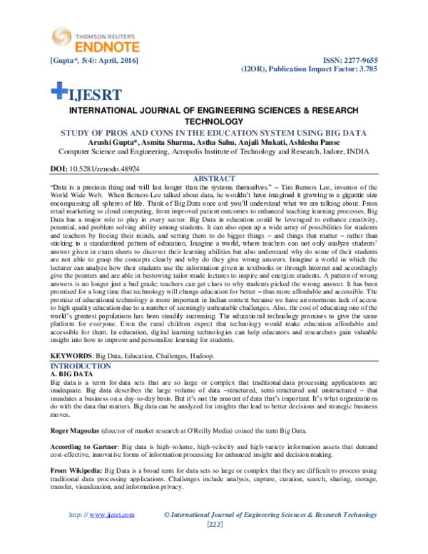 PDF) STUDY OF PROS AND CONS IN THE EDUCATION SYSTEM USING BIG DATA