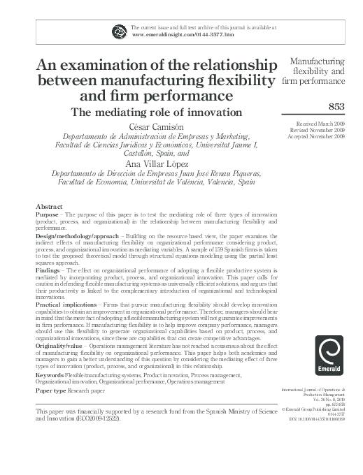 PDF) An examination of the relationship between manufacturing