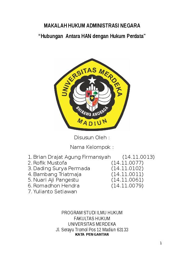 Doc Makalah Hukum Administrasi Negara Hubungan Antara Han Dengan Hukum Perdata Rofiq Mustofa Academia Edu