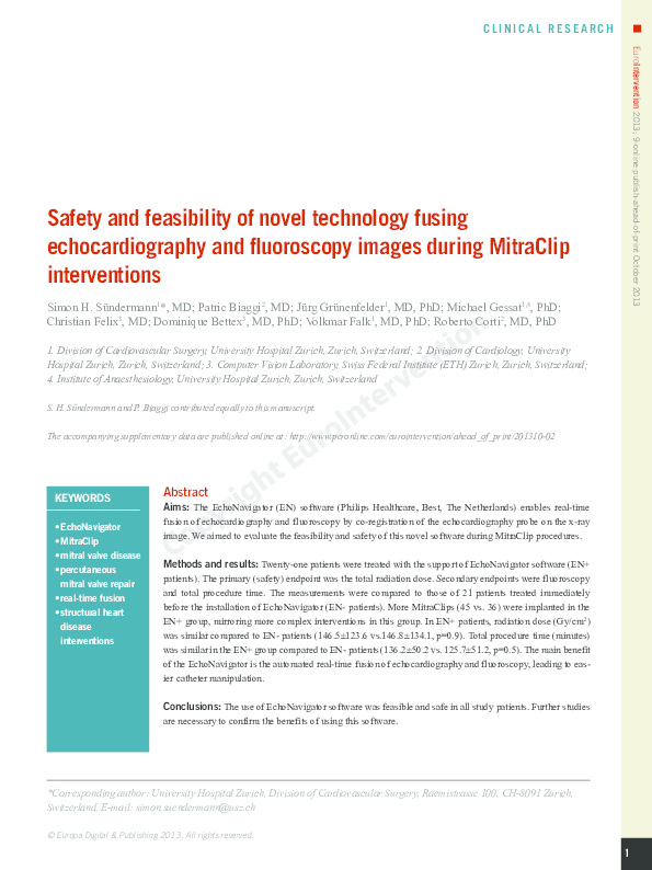 Pdf Safety And Feasibility Of Novel Technology Fusing Echocardiography And Fluoroscopy Images During Mitraclip Interventions Dominique Bettex Academia Edu