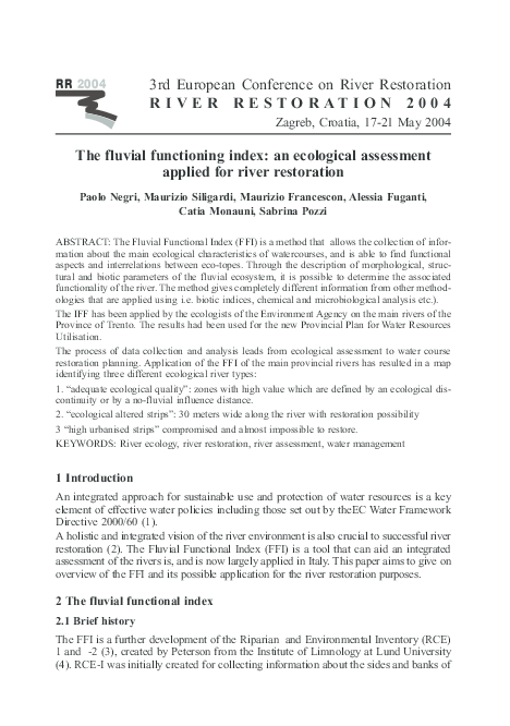 PDF) The fluvial functioning index: an ecological assessment applied