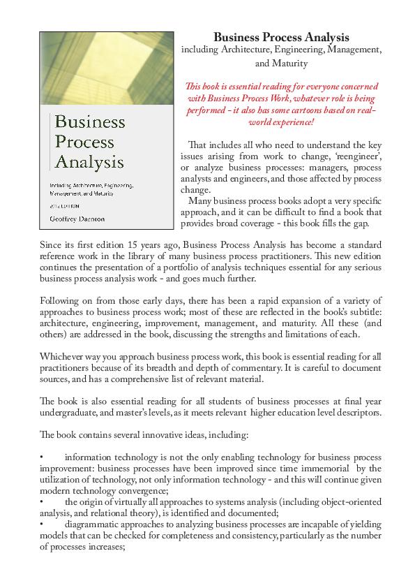 PDF) Business Process Analysis | Geoffrey Darnton - Academia edu