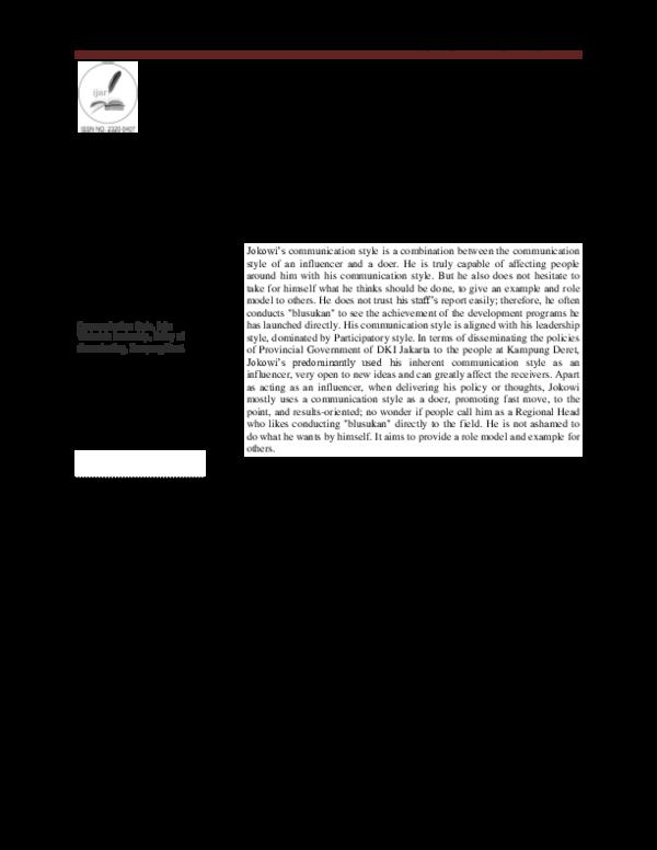 PDF) COMMUNICATION STYLES OF JOKO WIDODO IN DISSEMINATING