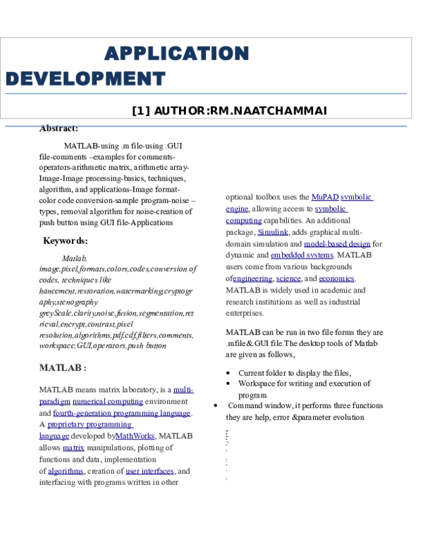 DOC) application development using matlab | Naatchammai